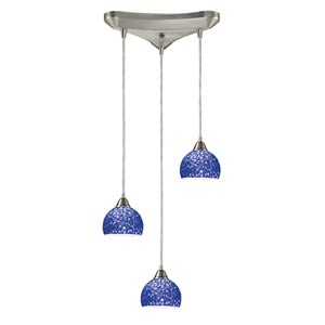 Cira Satin Nickel Three-Light Mini Pendant with Pebbled Blue Glass