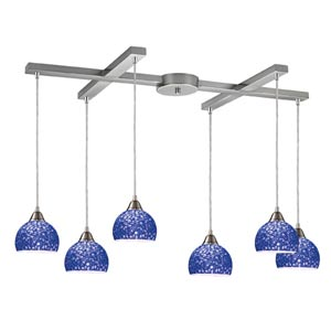 Cira Satin Nickel Six-Light Mini Pendant with Pebbled Blue Glass