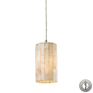 Piedra One Light Genuine Stone Pendant In Satin Nickel Includes w/ An Adapter Kit