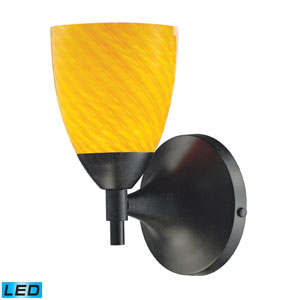 Celina One Light LED Wall Sconce In Dark Rust With Canary Glass