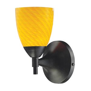 Celina Dark Rust Sconce with Canary Glass