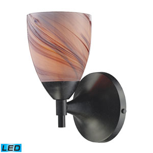 Celina One Light LED Wall Sconce In Dark Rust With Creme Glass