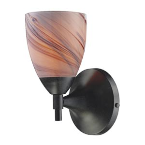 Celina Dark Rust Sconce with Creme Glass