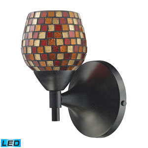 Celina One Light LED Wall Sconce In Dark Rust With Multi Fusion Glass