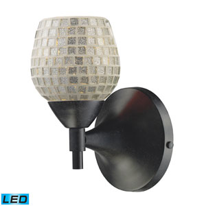 Celina One Light LED Wall Sconce In Dark Rust With Silver Glass
