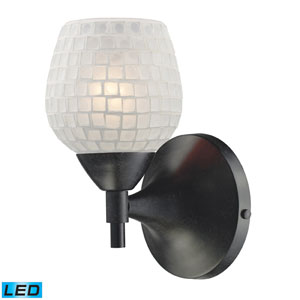 Celina One Light LED Wall Sconce In Dark Rust With White Glass