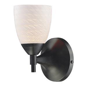Celina Dark Rust Sconce with White Swirl Glass