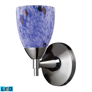 Celina One Light LED Wall Sconce In Polished Chrome And Starburst Blue Glass