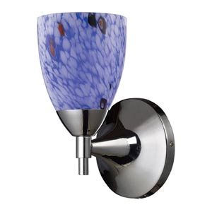 Celina Polished Chrome Sconce with Starburst Blue Glass