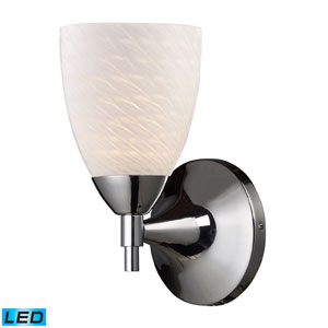 Celina One Light LED Wall  Sconce In Polished Chrome With White Swirl Glass