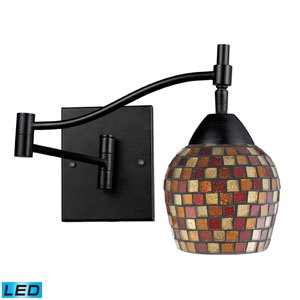 Celina One Light LED Swingarm Wall Sconce In Dark Rust And Mountain Glass