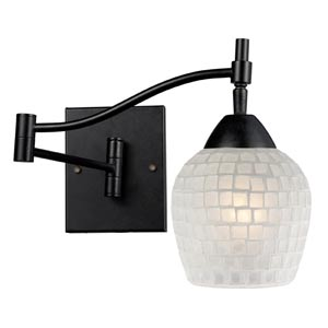 Celina Dark Rust Swing-Arm Sconce with White Glass