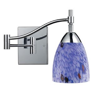 Celina Polished Chrome Swing-Arm Sconce with Starburst Blue Glass