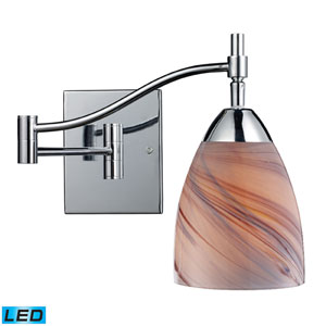 Celina One Light LED Swingarm Wall Sconce In Polished Chrome And Creme Glass