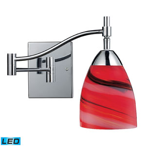 Celina One Light LED Swingarm Wall Sconce In Polished Chrome And Candy Glass