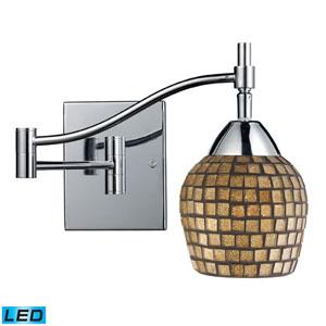 Celina One Light LED Swingarm Wall Sconce In Polished Chrome And Gold Leaf Glass