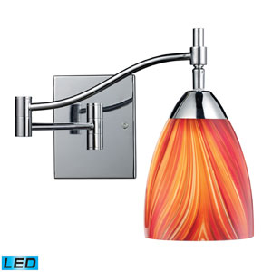 Celina One Light LED Swingarm Wall Sconce In Polished Chrome And Multi Glass