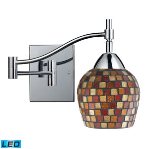 Celina One Light LED Swingarm Wall Sconce In Polished Chrome and Multi Fusion Glass
