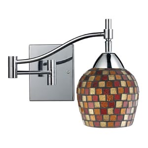 Celina Polished Chrome Swing-Arm Sconce with Multi Fusion Glass