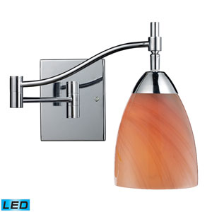 Celina One Light LED Swingarm Wall Sconce In Polished Chrome And Sandy Glass