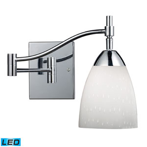 Celina One Light LED Swingarm Sconce In Polished Chrome And Simple White Glass