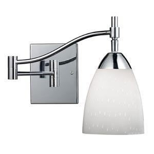 Celina Polished Chrome Swing-Arm Sconce with Simple Whit Glass
