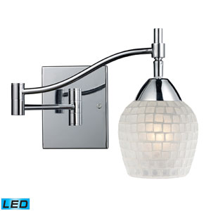 Celina One Light LED Swingarm Sconce In Polished Chrome And White Glass