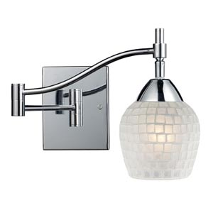 Celina Polished Chrome Swing-Arm Sconce with White Glass