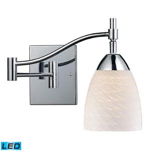 Celina One Light LED Swingarm Wall Sconce In Polished Chrome And White Swirl Glass