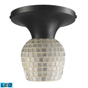 Celina One Light LED Semi-Flush In Dark Rust And Silver Glass