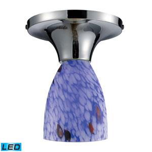 Celina One Light LED Semi-Flush In Polished Chrome And Starburst Blue Glass
