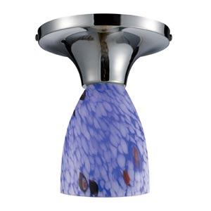 Celina Polished Chrome Semi-Flush with Starburst Blue Glass