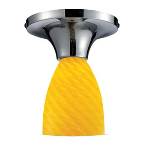Celina Polished Chrome Semi-Flush with Canary Glass