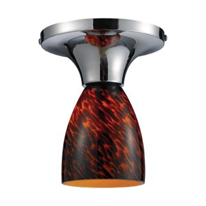 Celina Polished Chrome Semi-Flush with Espresso Glass