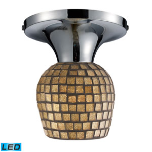 Celina One Light LED Semi-Flush In Polished Chrome And Gold Leaf Glass