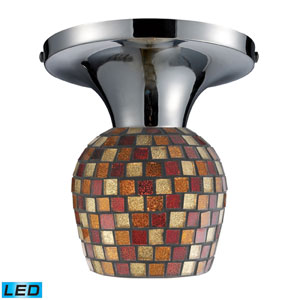 Celina One Light LED Semi-Flush In Polished Chrome And Multi Fusion Glass