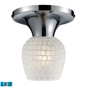 Celina One Light LED Semi-Flush In Polished Chrome And White Glass