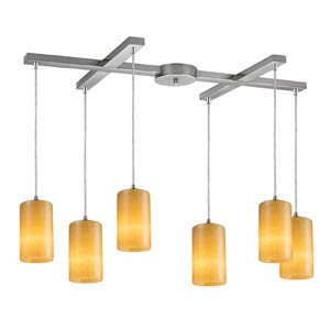 Piedra Satin Nickel Six-Light Mini Pendant