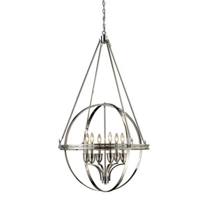 Hemispheres Polished Nickel Six-Light Chandelier