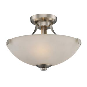 Exeter Three-Light Brushed Nickel Semi-Flush
