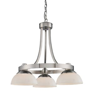 Exeter Three-Light Brushed Nickel Chandelier