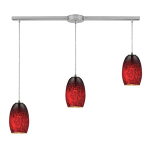 Maui Satin Nickel Three Light Pendant with Firebrick Glass Shade