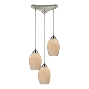 Favela Satin Nickel 10-Inch Three Light Pendant