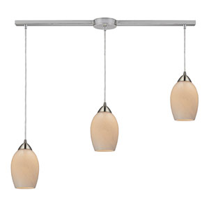 Favela Satin Nickel Three Light Pendant with Coconut Shade