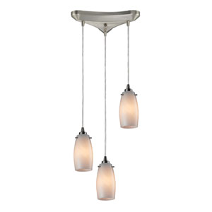 Favelita Satin Nickel 10-Inch Three Light Pendant