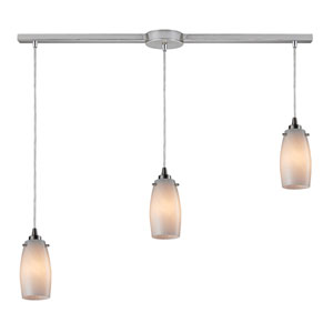 Favelita Satin Nickel Three Light Pendant with Coconut Shade