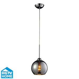 Cassandra Polished Chrome One Light Mini Pendant with Chrome Plated Glass