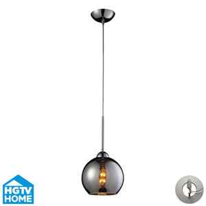 Cassandra Polished Chrome 9-Inch One Light Mini Pendant with Chrome Plated Glass