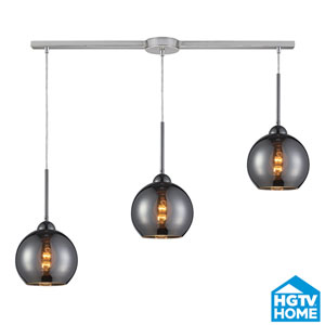 Cassandra Polished Chrome Three Light Pendant with Glass Shade
