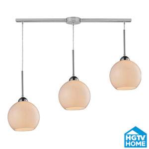 Cassandra Polished Chrome Three Light Pendant with White Glass Shade